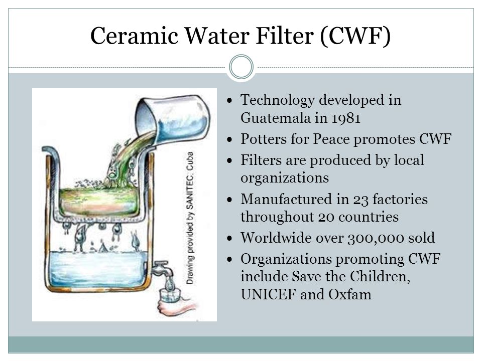 Ceramic Water Filter (CWF) Technology developed in Guatemala in 1981 Potters for Peace promotes CWF Filters are produced by local organizations Manufa