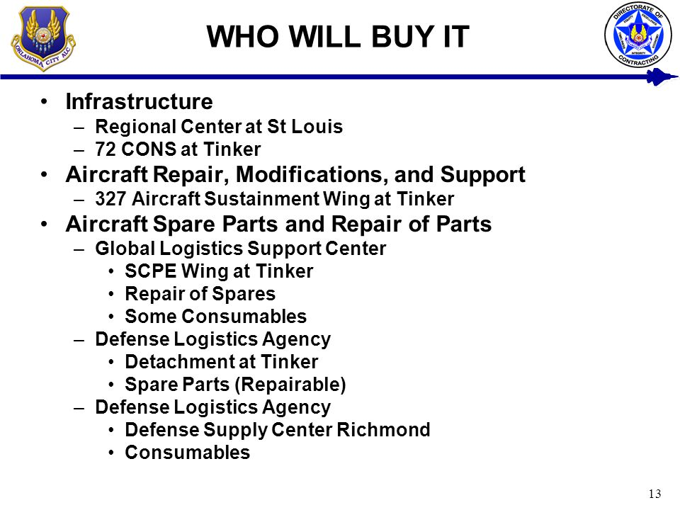 13 WHO WILL BUY IT Infrastructure –Regional Center at St Louis –72 CONS at Tinker Aircraft Repair, Modifications, and Support –327 Aircraft Sustainmen