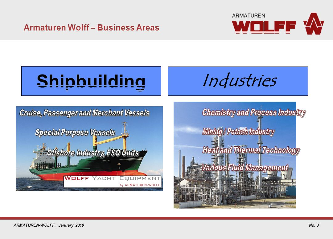ARMATUREN-WOLFF, January 2010 Armaturen Wolff – Business Areas No. 3 Industries Shipbuilding