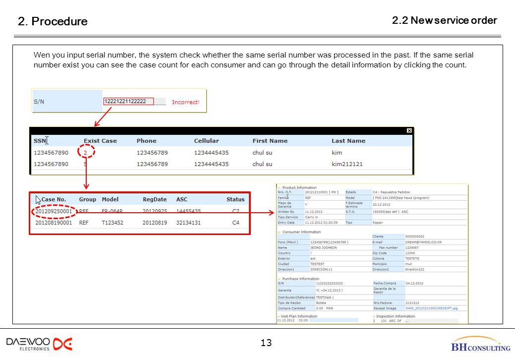 2. Procedure 13 Wen you input serial number, the system check whether the same serial number was processed in the past. If the same serial number exis