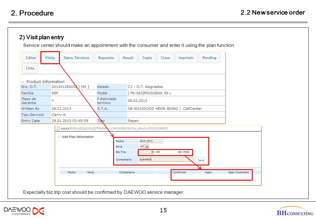 2. Procedure 15 2) Visit plan entry Service center should make an appointment with the consumer and enter it using the plan function 2.2 New service o