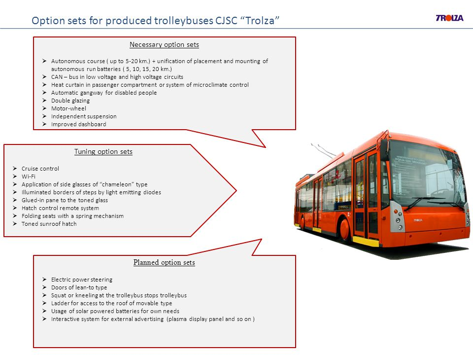 Option sets for produced trolleybuses CJSC Trolza Necessary option sets Autonomous course ( up to 5-20 km.) + unification of placement and mounting of autonomous run batteries ( 5, 10, 15, 20 km.) CAN – bus in low voltage and high voltage circuits Heat curtain in passenger compartment or system of microclimate control Automatic gangway for disabled people Double glazing Motor-wheel Independent suspension Improved dashboard Planned option sets Electric power steering Doors of lean-to type Squat or kneeling at the trolleybus stops trolleybus Ladder for access to the roof of movable type Usage of solar powered batteries for own needs Interactive system for external advertising (plasma display panel and so on ) Tuning option sets Cruise control Wi-Fi Application of side glasses of chameleon type Illuminated borders of steps by light emitting diodes Glued-in pane to the toned glass Hatch control remote system Folding seats with a spring mechanism Toned sunroof hatch