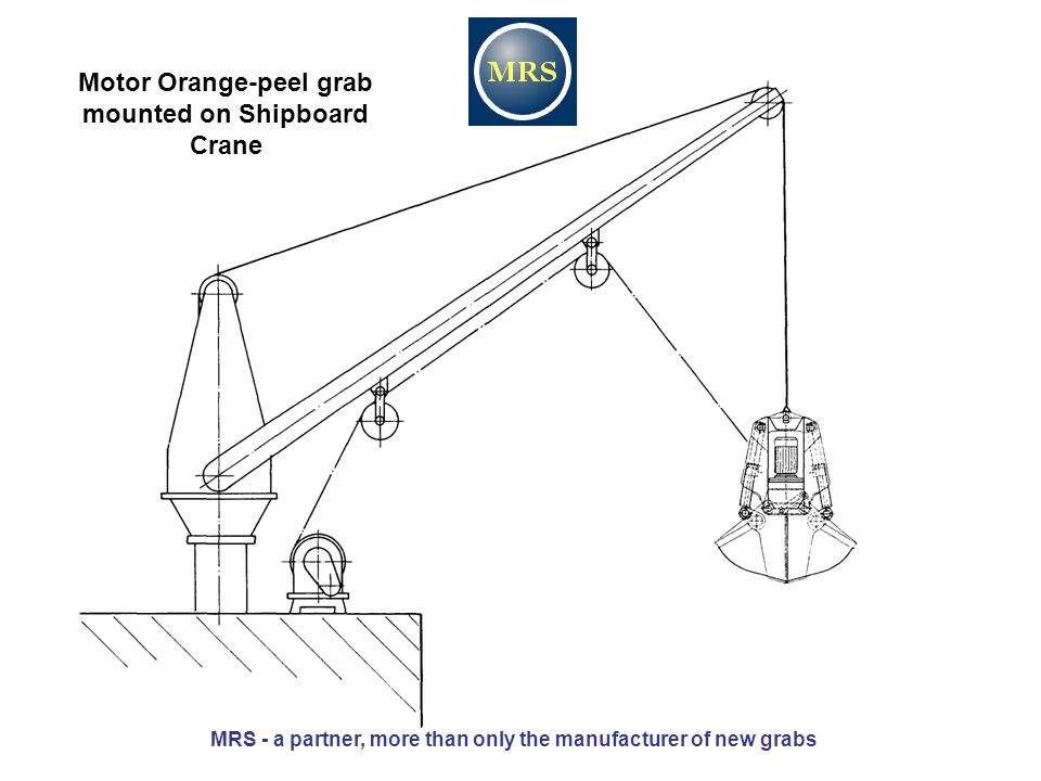 Motor Orange-peel grab mounted on Shipboard Crane MRS - a partner, more than only the manufacturer of new grabs