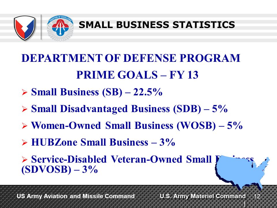 U.S. Army Materiel Command | US Army Aviation and Missile Command SMALL BUSINESS STATISTICS DEPARTMENT OF DEFENSE PROGRAM PRIME GOALS – FY 13 Small Bu