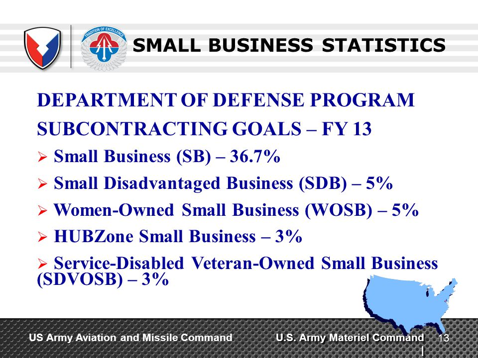 U.S. Army Materiel Command | US Army Aviation and Missile Command SMALL BUSINESS STATISTICS DEPARTMENT OF DEFENSE PROGRAM SUBCONTRACTING GOALS – FY 13