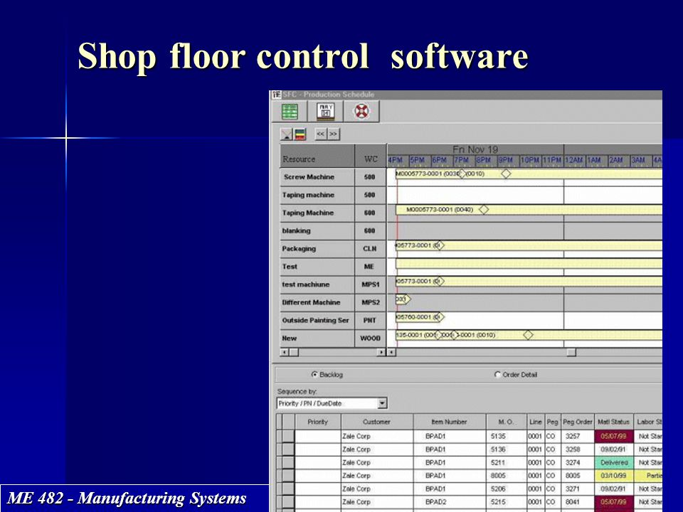 ME 482 - Manufacturing Systems Shop floor control software