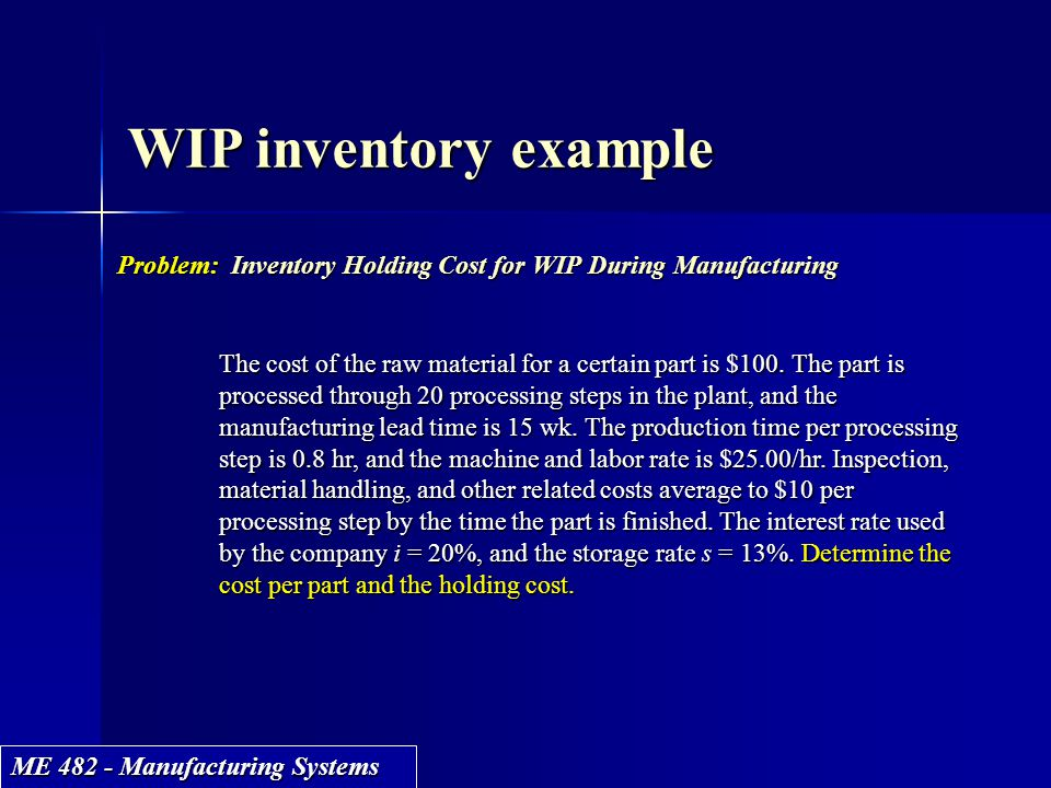 ME 482 - Manufacturing Systems WIP inventory example Problem: Inventory Holding Cost for WIP During Manufacturing The cost of the raw material for a c