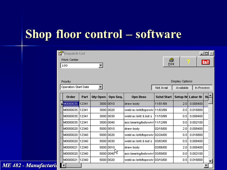 ME 482 - Manufacturing Systems Shop floor control – software