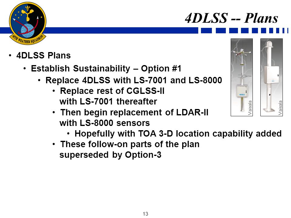 13 4DLSS Plans Establish Sustainability – Option #1 Replace 4DLSS with LS-7001 and LS-8000 Replace rest of CGLSS-II with LS-7001 thereafter Then begin replacement of LDAR-II with LS-8000 sensors Hopefully with TOA 3-D location capability added These follow-on parts of the plan superseded by Option-3 4DLSS -- Plans Vaisala