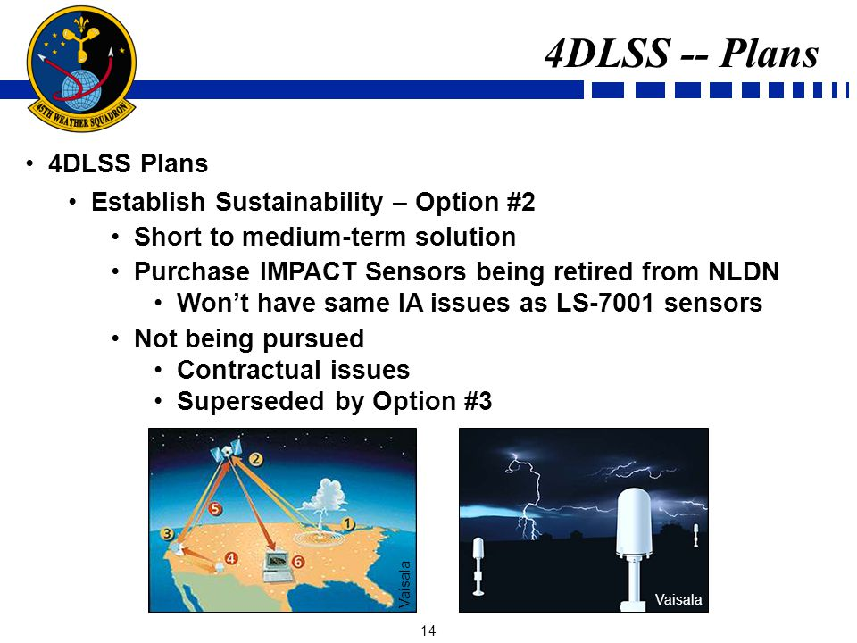 14 4DLSS Plans Establish Sustainability – Option #2 Short to medium-term solution Purchase IMPACT Sensors being retired from NLDN Wont have same IA issues as LS-7001 sensors Not being pursued Contractual issues Superseded by Option #3 4DLSS -- Plans Vaisala