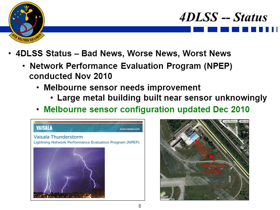 9 4DLSS Status – Bad News, Worse News, Worst News CGLSS-II Shiloh sensor broke Apr 2011 CGLSS-II degraded to 4-sensor network Melbourne sensor moved to Shiloh Optimize network geometry for 4 sensors 4DLSS -- Status X X