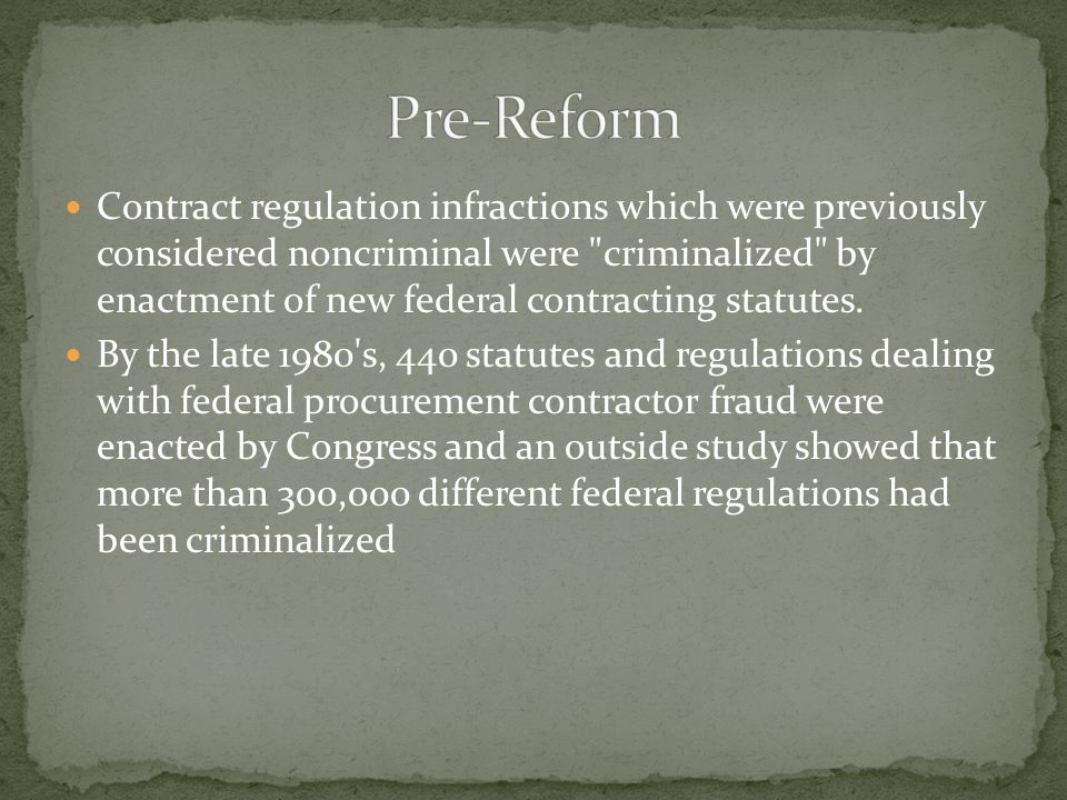 Contract regulation infractions which were previously considered noncriminal were