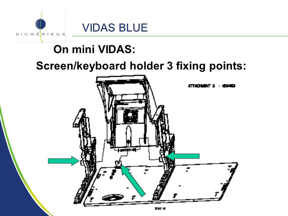 VIDAS BLUE On mini VIDAS: Screen/keyboard holder 3 fixing points: