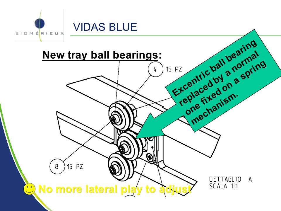 VIDAS BLUE New tray ball bearings: Excentric ball bearing replaced by a normal one fixed on a spring mechanism. No more lateral play to adjust