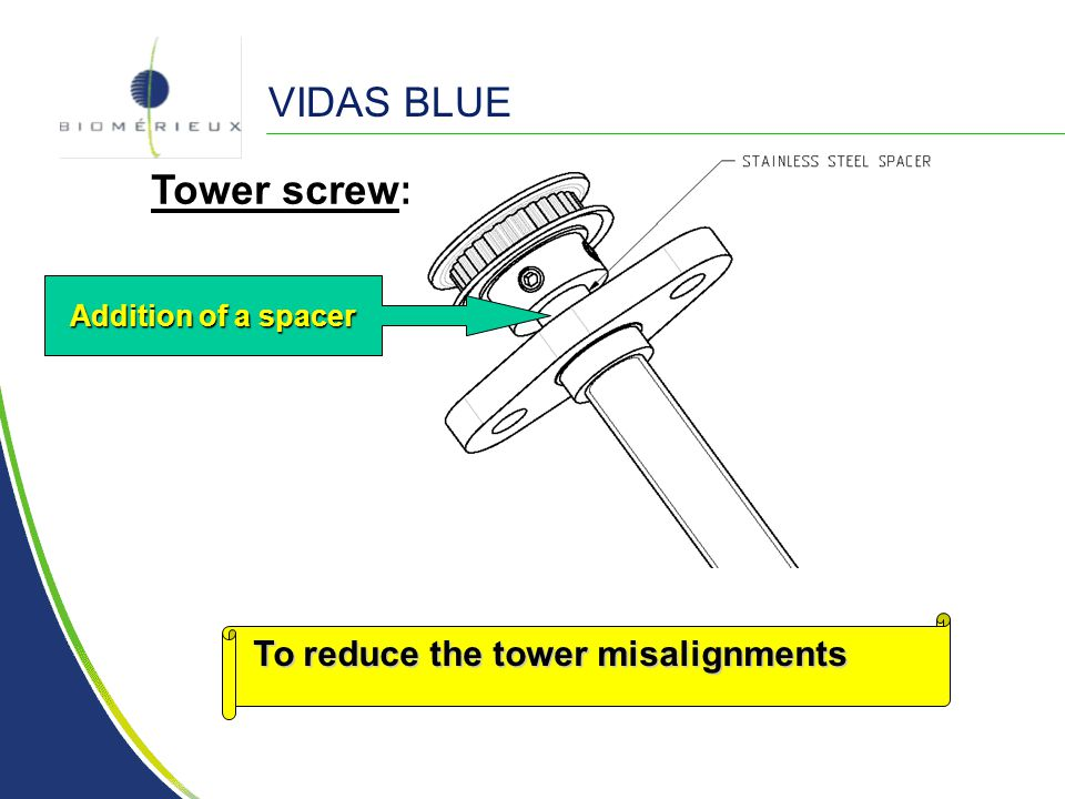 VIDAS BLUE Tower screw: Addition of a spacer To reduce the tower misalignments