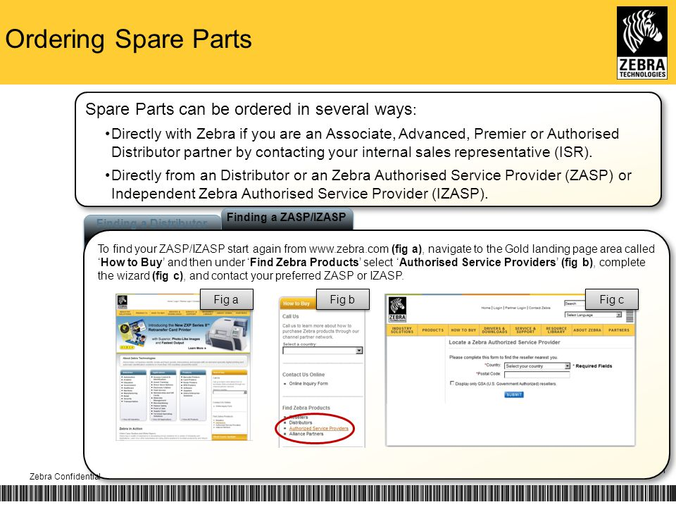 Ordering Spare Parts 11 Finding a ZASP/IZASP Finding a Distributor To find your ZASP/IZASP start again from www.zebra.com (fig a), navigate to the Gold landing page area calledHow to Buy and then under Find Zebra Products select Authorised Service Providers (fig b), complete the wizard (fig c), and contact your preferred ZASP or IZASP.