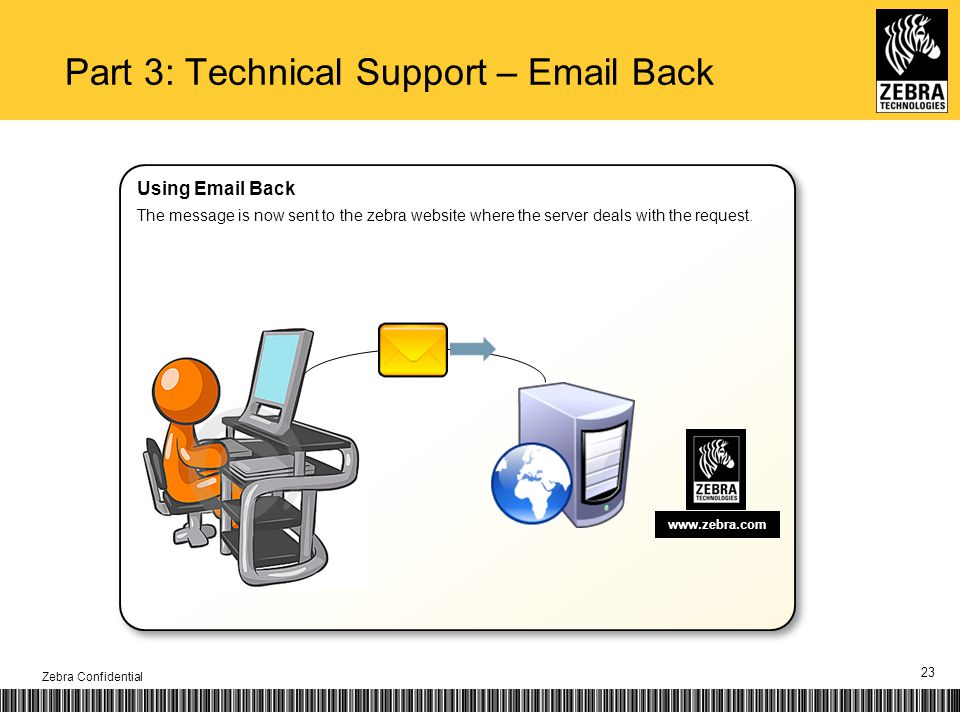 23 www.zebra.com Part 3: Technical Support – Email Back Zebra Confidential