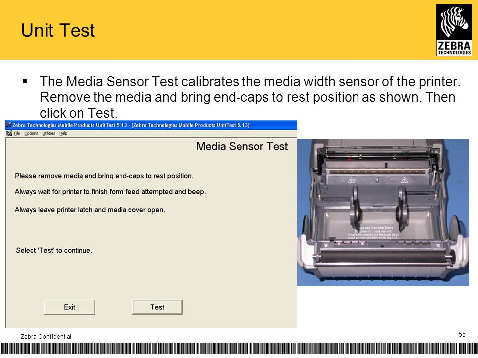 The Media Sensor Test calibrates the media width sensor of the printer. Remove the media and bring end-caps to rest position as shown. Then click on T