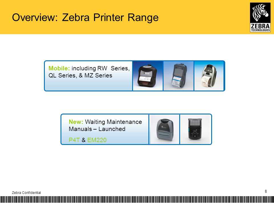 Zebra Confidential 8 Mobile: including RW Series, QL Series, & MZ Series New: Waiting Maintenance Manuals – Launched P4T & EM220