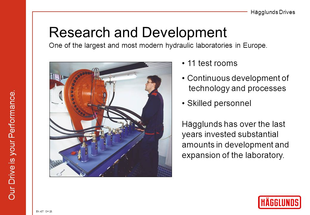 Hägglunds Drives Our Drive is your Performance. 11 test rooms Continuous development of technology and processes Skilled personnel Hägglunds has over