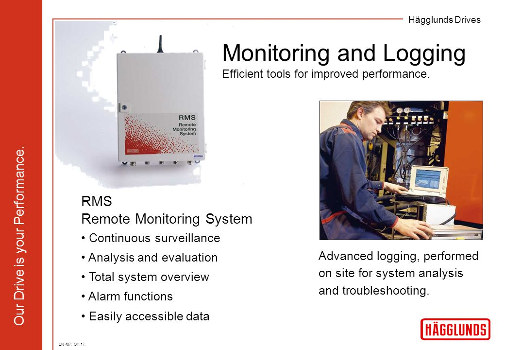 Hägglunds Drives Our Drive is your Performance. RMS Remote Monitoring System Continuous surveillance Analysis and evaluation Total system overview Ala