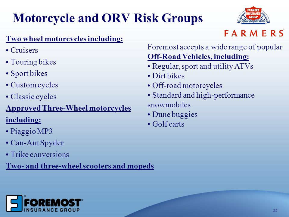 Motorcycle and ORV Risk Groups Two wheel motorcycles including: Cruisers Touring bikes Sport bikes Custom cycles Classic cycles Approved Three-Wheel m