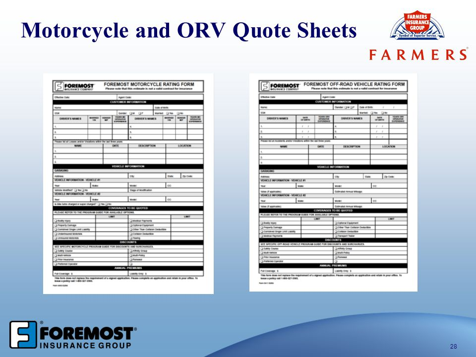 Motorcycle and ORV Quote Sheets 28