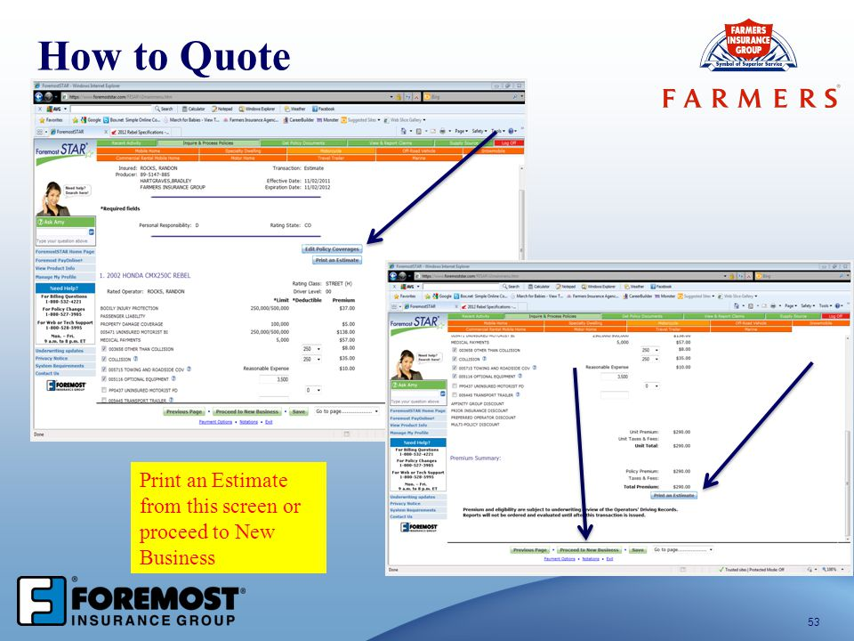 53 How to Quote Print an Estimate from this screen or proceed to New Business