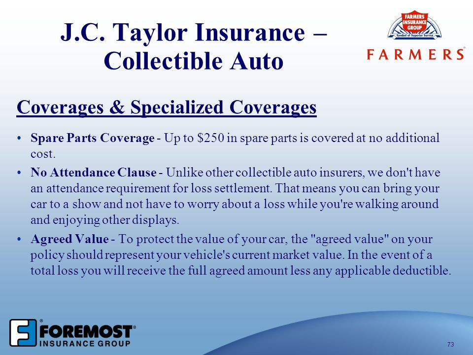 J.C. Taylor Insurance – Collectible Auto 73 Coverages & Specialized Coverages Spare Parts Coverage - Up to $250 in spare parts is covered at no additi