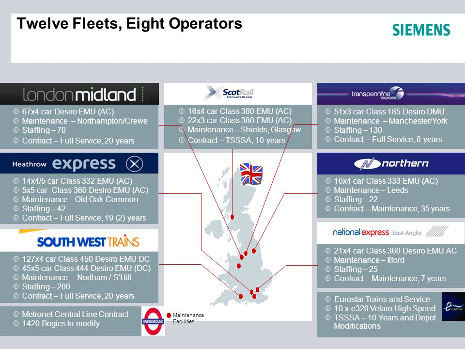 Twelve Fleets, Eight Operators 16x4 car Class 333 EMU (AC) Maintenance – Leeds Staffing – 22 Contract – Maintenance, 35 years Metronet Central Line Contract 1420 Bogies to modify 67x4 car Desiro EMU (AC) Maintenance – Northampton/Crewe Staffing – 70 Contract – Full Service, 20 years 51x3 car Class 185 Desiro DMU Maintenance – Manchester/York Staffing – 130 Contract – Full Service, 8 years 14x4/5 car Class 332 EMU (AC) 5x5 car Class 360 Desiro EMU (AC) Maintenance – Old Oak Common Staffing – 42 Contract – Full Service, 19 (2) years 127x4 car Class 450 Desiro EMU DC 45x5 car Class 444 Desiro EMU (DC) Maintenance – Northam / S Hill Staffing – 200 Contract – Full Service, 20 years 21x4 car Class 360 Desiro EMU AC Maintenance – Ilford Staffing – 25 Contract – Maintenance, 7 years Eurostar Trains and Service 10 x e320 Velaro High Speed TSSSA – 10 Years and Depot Modifications Maintenance Facilities 16x4 car Class 380 EMU (AC) 22x3 car Class 380 EMU (AC) Maintenance – Shields, Glasgow Contract – TSSSA, 10 years