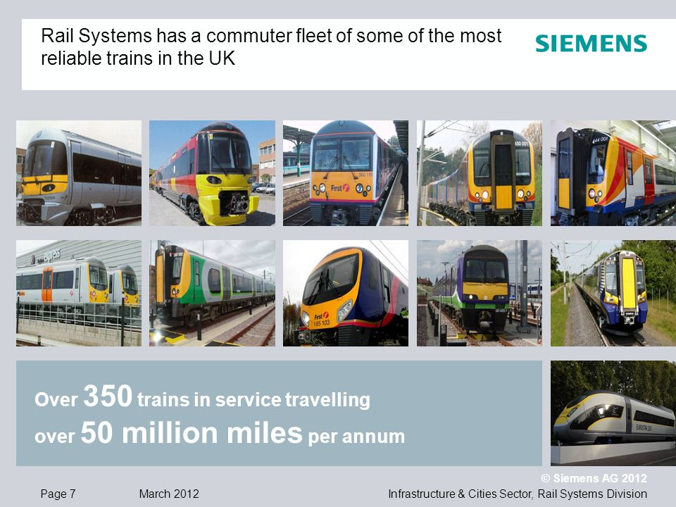 Infrastructure & Cities Sector, Rail Systems DivisionPage 7 March 2012 © Siemens AG 2012 Over 350 trains in service travelling over 50 million miles per annum Rail Systems has a commuter fleet of some of the most reliable trains in the UK