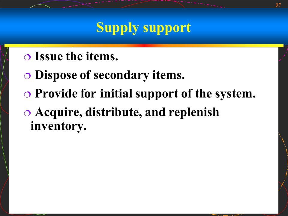 37 Supply support Issue the items. Dispose of secondary items. Provide for initial support of the system. Acquire, distribute, and replenish inventory