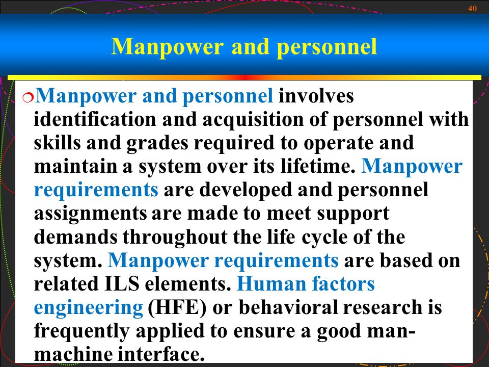 40 Manpower and personnel Manpower and personnel involves identification and acquisition of personnel with skills and grades required to operate and m