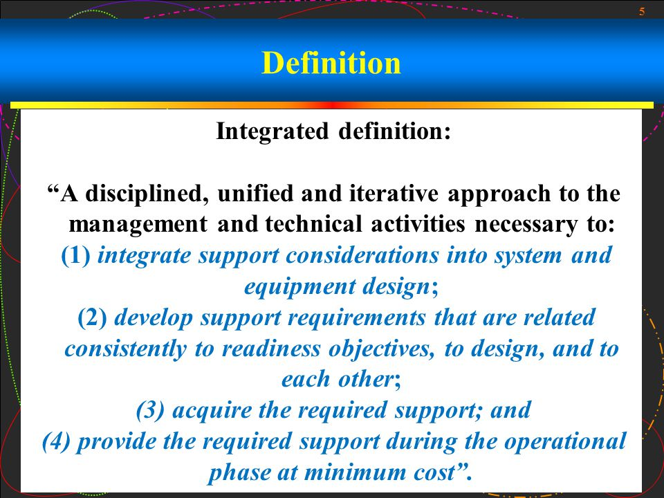 5 Definition Integrated definition: A disciplined, unified and iterative approach to the management and technical activities necessary to: (1) integra