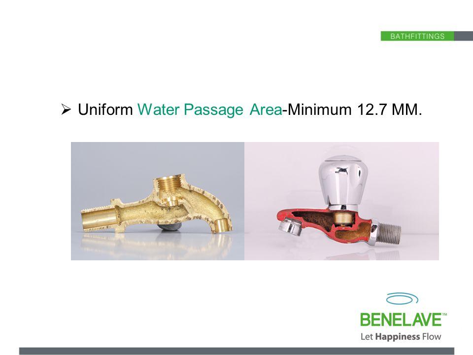 Uniform Water Passage Area-Minimum 12.7 MM.