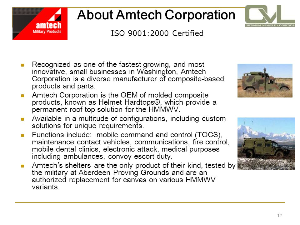 17 About Amtech Corporation ISO 9001:2000 Certified Recognized as one of the fastest growing, and most innovative, small businesses in Washington, Amt