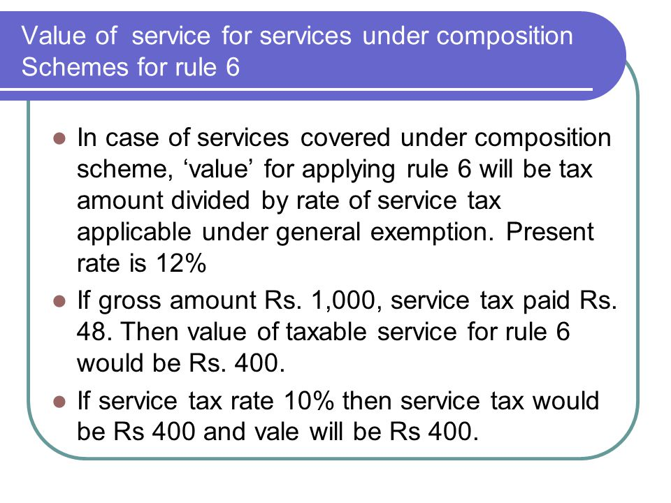 Value of service for services under composition Schemes for rule 6 In case of services covered under composition scheme, value for applying rule 6 wil