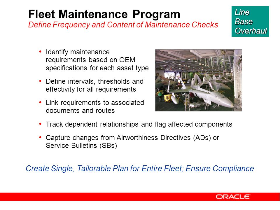 Identify maintenance requirements based on OEM specifications for each asset type Define intervals, thresholds and effectivity for all requirements Li
