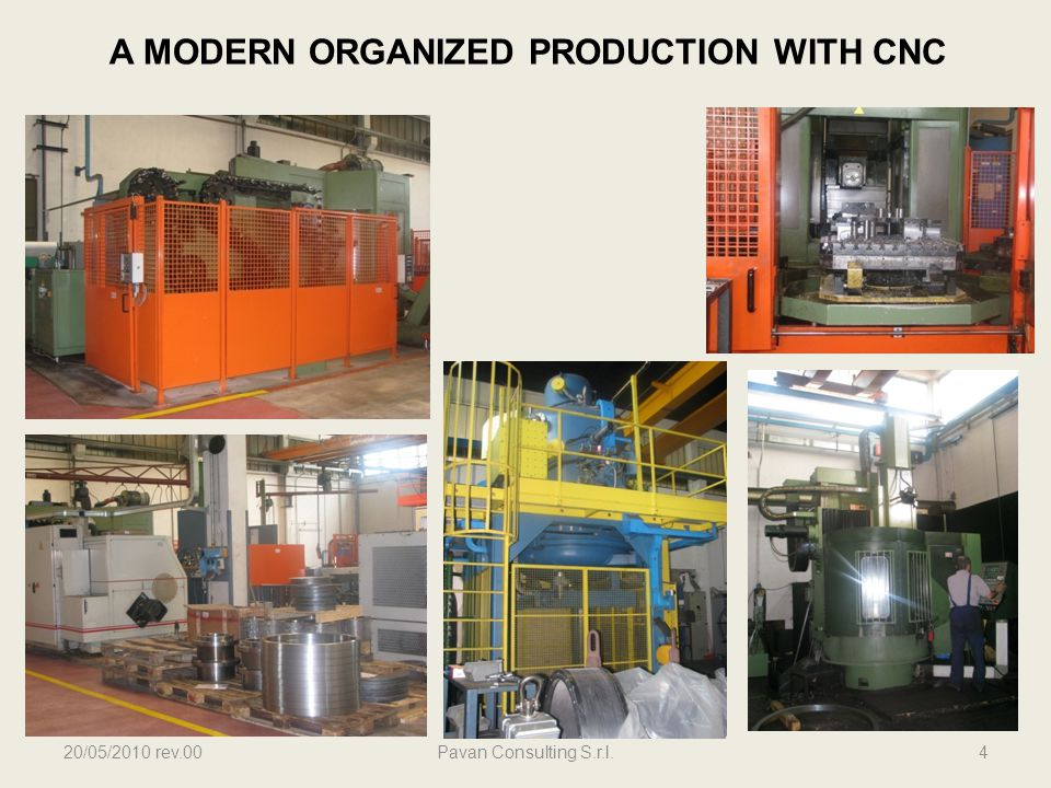 20/05/2010 rev.00Pavan Consulting S.r.l.4 A MODERN ORGANIZED PRODUCTION WITH CNC