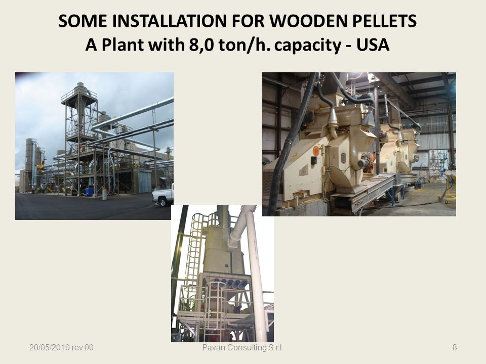 SOME INSTALLATION FOR WOODEN PELLETS A Plant with 8,0 ton/h. capacity - USA 20/05/2010 rev.00Pavan Consulting S.r.l.8