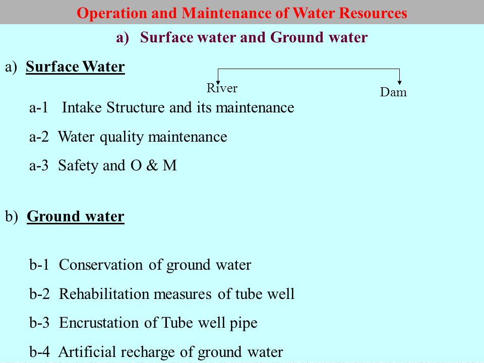a)Surface water and Ground water a) Surface Water a-1 Intake Structure and its maintenance a-2 Water quality maintenance a-3 Safety and O & M b) Groun