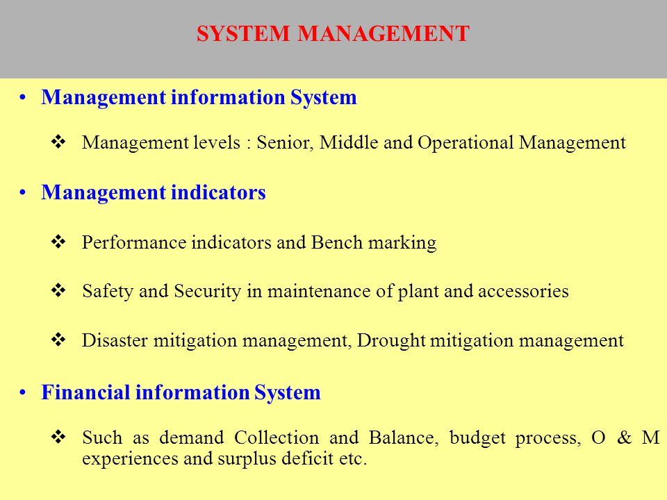 Management information System Management levels : Senior, Middle and Operational Management Management indicators Performance indicators and Bench mar