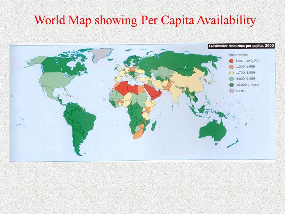Declining availability of water per capita