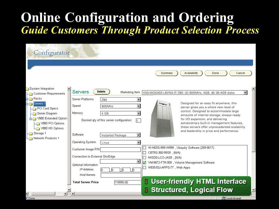 User-friendly HTML Interface Structured, Logical Flow User-friendly HTML Interface Structured, Logical Flow Online Configuration and Ordering Guide Cu
