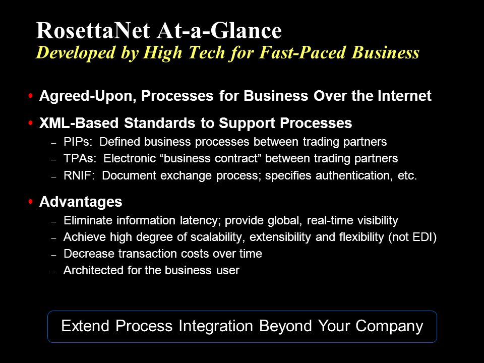 RosettaNet At-a-Glance Developed by High Tech for Fast-Paced Business Agreed-Upon, Processes for Business Over the Internet XML-Based Standards to Sup