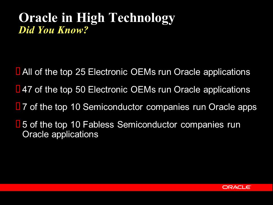 All of the top 25 Electronic OEMs run Oracle applications 47 of the top 50 Electronic OEMs run Oracle applications 7 of the top 10 Semiconductor compa