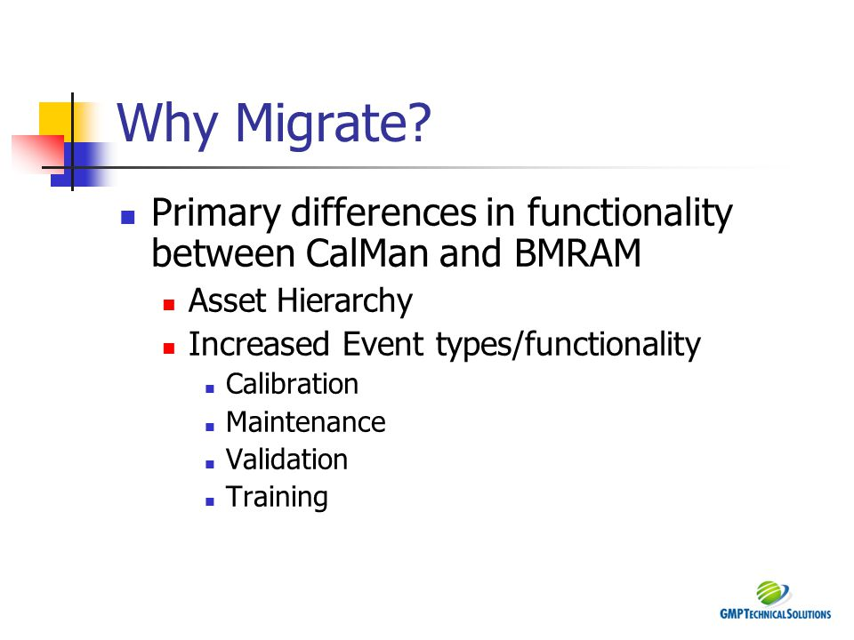 Why Migrate? Primary differences in functionality between CalMan and BMRAM Asset Hierarchy Increased Event types/functionality Calibration Maintenance