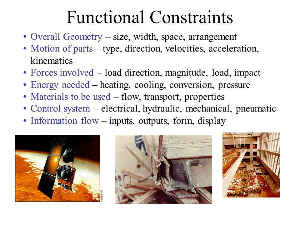 Functional Constraints Overall Geometry – size, width, space, arrangement Motion of parts – type, direction, velocities, acceleration, kinematics Forc
