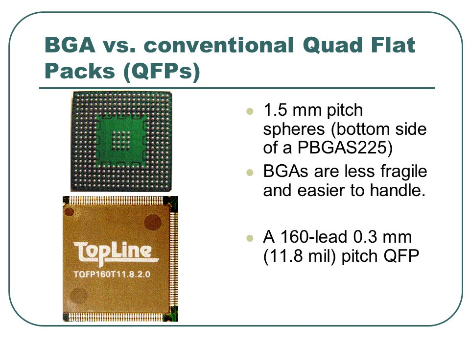 BGA vs. conventional Quad Flat Packs (QFPs) 1.5 mm pitch spheres (bottom side of a PBGAS225) BGAs are less fragile and easier to handle. A 160-lead 0.