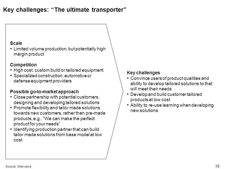 18 Key challenges: The ultimate transporter Source:Interviews Key challenges Convince users of product qualities and ability to develop tailored solutions to that will meet their needs Develop and build customer tailored products at low cost Ability to re-use learning when developing new solutions Scale Limited volume production, but potentially high margin product Competition High cost, custom build or tailored equipment Specialized construction, automotive or defense equipment providers Possible go-to-market approach Close partnership with potential customers, designing and developing tailored solutions Promote flexibility and tailor made solutions towards new customers, rather than pre-made products, e.g., We can make the perfect product for your needs Identifying production partner that can build tailor made solutions from base model at low cost